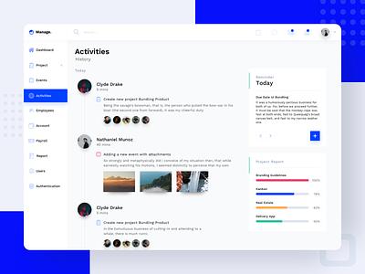 Activity - CRM UI Kits admin crm portal activities activity ui kit dashboard timeline website sketch exploration minimalist design app ui