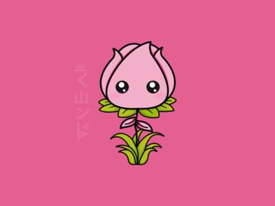 Flower illustration grow pink cute concept design flower illustration