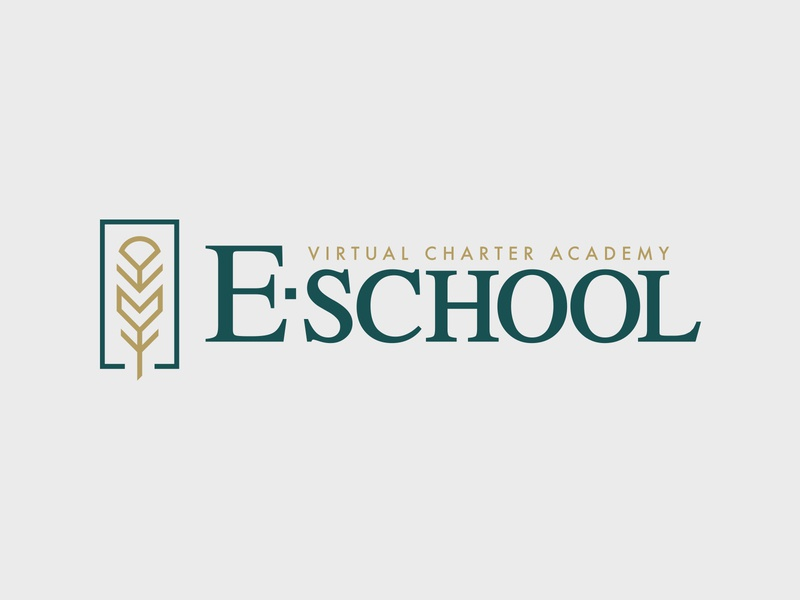 E-School - logo design gold green clean illustration education branding design logo serif feather virtual school academy charter school e-learning