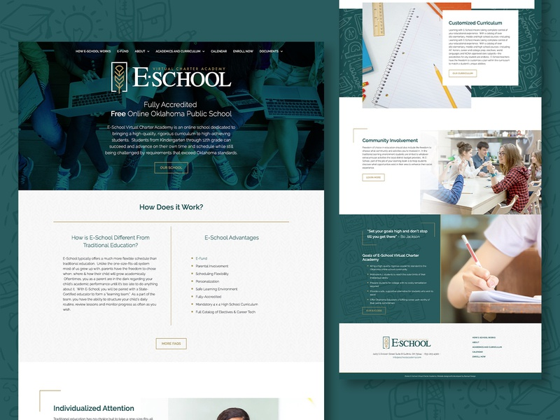 E-School - web green clean web design website design web learning academy charter virtual e-learning school