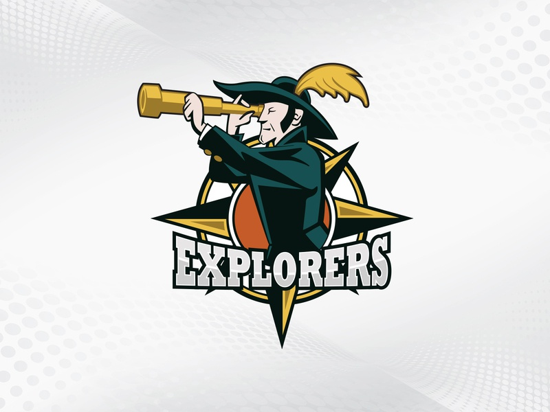 Explorers - mascot design mascot logo charicature branding school sports design logo gold green looking glass feather compass illustration explorer mascot