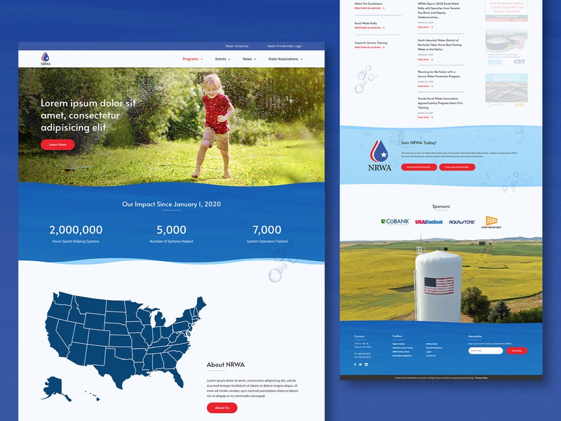 NRWA - web design tower web design website blue clean design web rural water