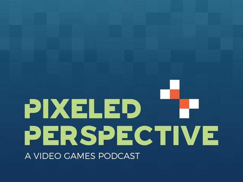 Pixeled Perspective - logo design retro square perspective eye green blue logo design pattern gaming podcast video games pixel design branding logo