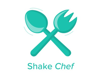Shake Chef logo app cutlery knife fork food green