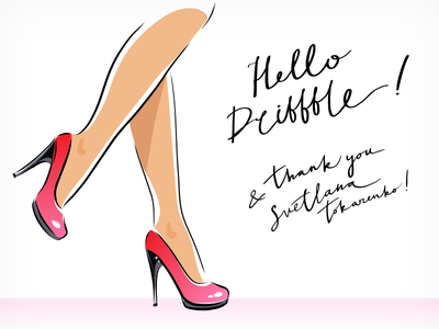Hello Dribbble heels illustration calligraphy sketch fashion legs hello dribbble
