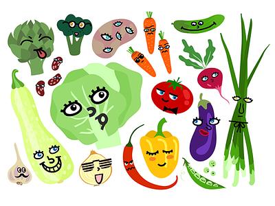 Funny Vegetables face vegetable funny character illustrator