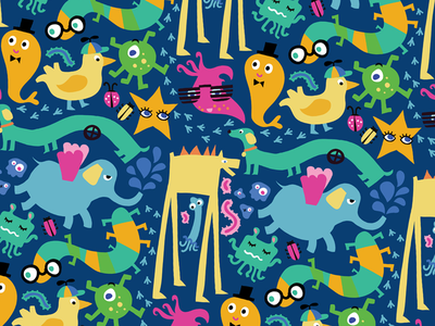 Pattern with Crazy Monsters crazy monsters party pattern