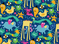 Pattern with Crazy Monsters