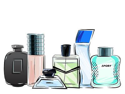 Men's Perfume Bottles men sketch illustration perfume