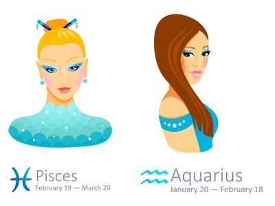 Set of Zodiac Signs: Pisces and Aquarius aquarius pisces illustrator zodiac