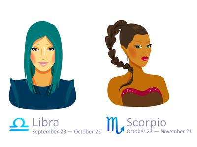 Set of Zodiac Signs: Libra and Scorpio scorpio libra illustrator zodiac