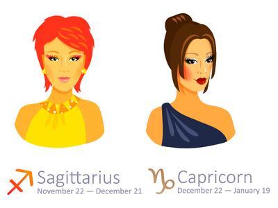 Set of Zodiac Signs: Sagittarius and Capricorn capricorn sagittarius illustrator zodiac