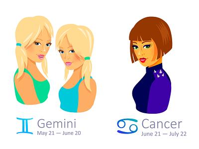 Set of Zodiac Signs: Gemini and Cancer cancer gemini illustrator zodiac