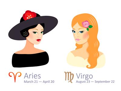 Set of Zodiac Signs: Aries and Virgo virgo aries illustrator zodiac
