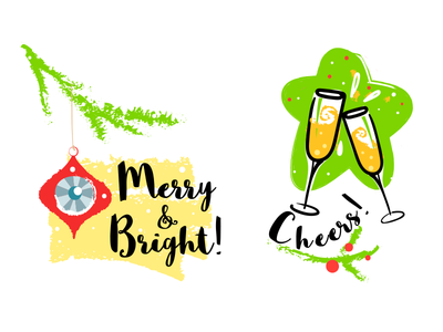 Merry and Bright! Cheers! cheers illustration christmas
