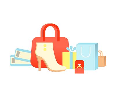 Shopping icon gift shoes cashback icon shopping