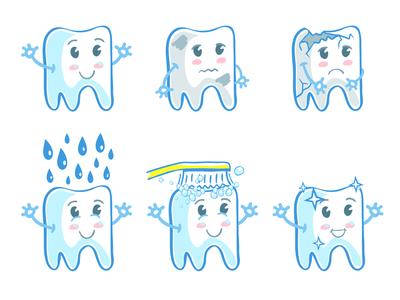 Brush your teeth medicine sticker teeth