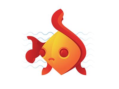 Nemo waves mascot fish illustration
