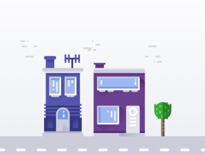 Groupmind brand promo buildings illustration