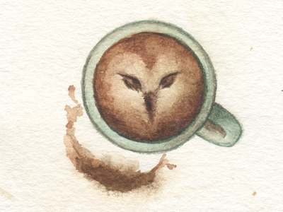 Coffee foam owl painting coffee owl water color illustration