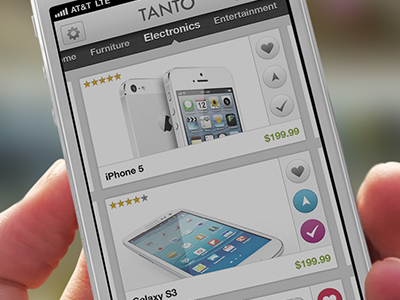 Product Selection for Tanto App ui user interface design iphone ios app retail light product shopping gadgets