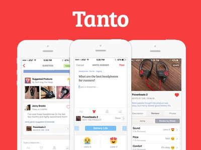 Tanto 2.0 – Your best source for product knowledge user interface ui user shopping ux simple reviews red mobile ios