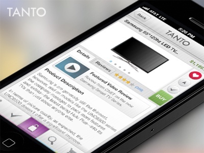Tanto App - Universal Shopping Assistant shopping user interface iphone ui ui product mobile app buy television tv love heart video video preview nav iphone iphone 5 button shopping list light gray icons retail