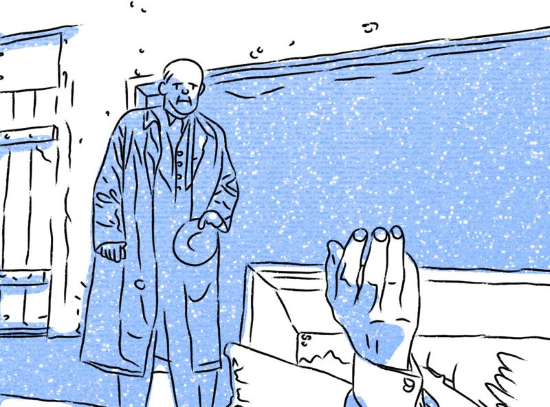 """""""Último sueño"""" dreams digital illustration blue lineart light cinema illustration"""