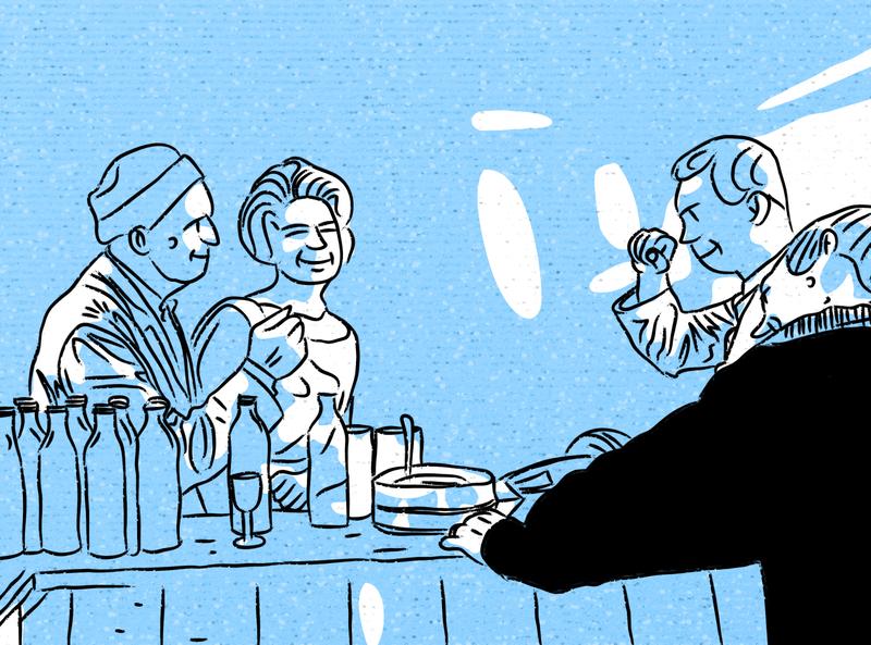 """Salida con amigos"" bergman digital illustration blue lineart cinema illustration"