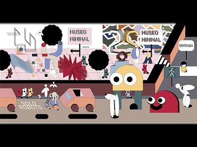 """Minimal Museum"" Part 01 isometric robots fun character design minimal isometric art lineart illustration"