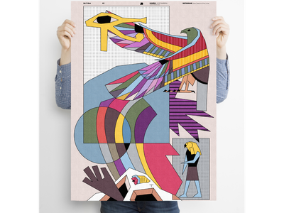 """""""Ra and Japanese wave"""" poster a day poster art poster fun surreal dreams minimal digital illustration lineart illustration"""