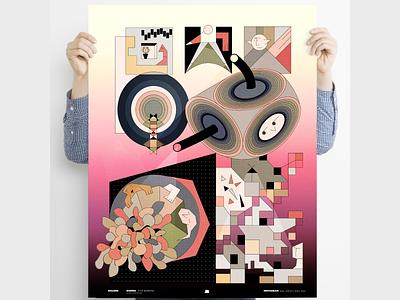"""Nights"" Poster Series illustration dreams minimal lineart digital illustration surreal poster design poster art poster"