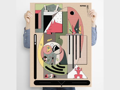 """Rutina""  Poster series characterdesign poster art illustration digital illustration lineart minimal freestyle poster design posters poster"