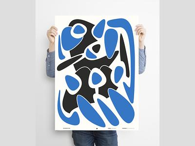 """Blue movement"" vectorart poster a day blue grahicdesign illustration minimal digital illustration poster art poster"