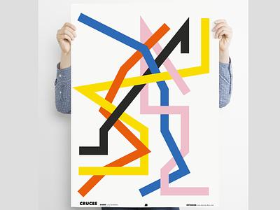 """Cruces"" digitalart poster surreal design bauhaus poster a day posters poster design poster art lineart minimal digital illustration"
