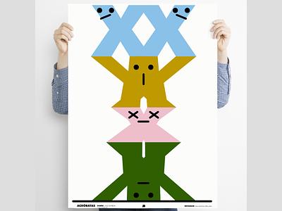 """The acrobats"" acrobats poster design characterdesign digital illustration illustration fun posterdesign poster a day poster art poster minimal"