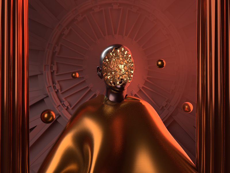 Bronze God - Render #81 golden abstract michael rappaz neonoir dark concept art rendere bronze gold aesthetic neon arnoldrender cinema 4d c4d design 100days everyday render 3d