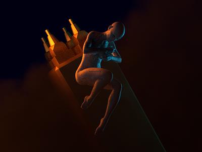 Fallen Kingdom - Render #85 abstract concept art michael rappaz blue gold women naked floating arnold aesthetic neon arnoldrender cinema 4d c4d design 100days everyday render 3d