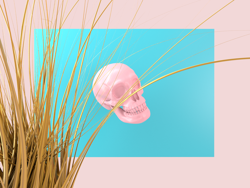 Memento Mori - Render #89 michael rappaz concept abstract art gold blue pink death arnold aesthetic neon arnoldrender cinema 4d c4d design 100days everyday render 3d