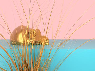 Frozen Gold - Render #91 pale blues pink michael rappaz concept abstract art death blue gold aesthetic neon arnoldrender cinema 4d c4d design 100days everyday render 3d
