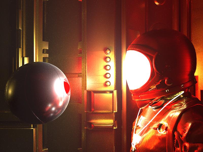 HAL 9000 - Render #92 absract concept redesign concept art fog red gold spaceman space aesthetic neon arnoldrender maxon cinema 4d c4d design 100days everyday render 3d