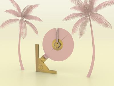 Gold Drive - Render #95 palmtree ssd michael rappaz concept art abstract concept art harddrive arnold aesthetic neon arnoldrender cinema 4d c4d design 100days everyday render 3d