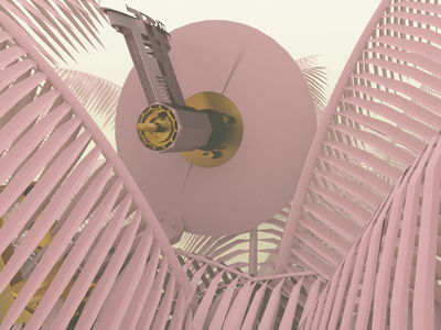 Chainsaw Thingy - Render #96 hd photoshop michael rappaz concept abstract pixel art driver chainsaw gold pink aesthetic neon arnoldrender cinema 4d c4d design 100days everyday render 3d