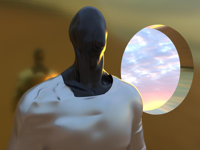 Morning Sunshine - Render #98 renders gold sunset man concept abstract art michael rappaz arnold aesthetic neon arnoldrender cinema 4d c4d design 100days everyday render 3d