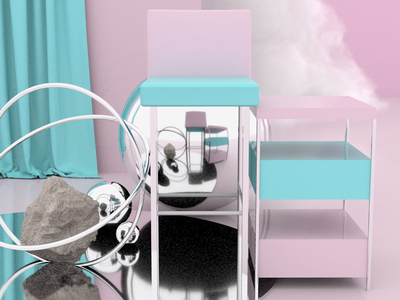 Abstract Chair - Render #1 chair dollyzoom zoom dolly animation motion blue pink abstract arnold aesthetic arnoldrender cinema 4d c4d design render 3d
