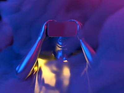 VR Human - Render #2 red blue gold robot clouds vdb smoke abstract neon aesthetic arnoldrender cinema 4d c4d design render 3d