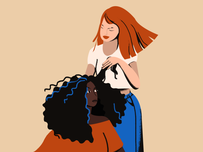 Hairdo composition black white woman home friends girls white red head curly hair black hair black person of color illustration flat illustration clean