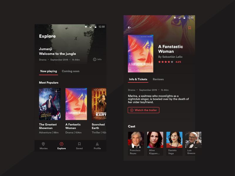 Movie App - Design Concept ticket app ticketing buy tickets film theater app theater movie app movie design ios concept app app design android