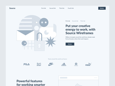 Source Wireframe Kit ui kit website design ui interface website animation web design