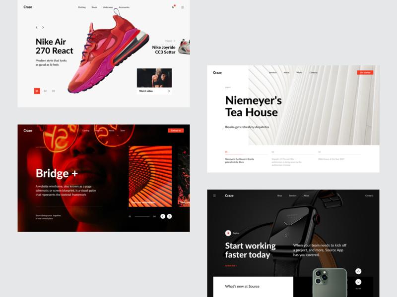 Hero Headers Based on Source Wireframes webdesign website web web design design